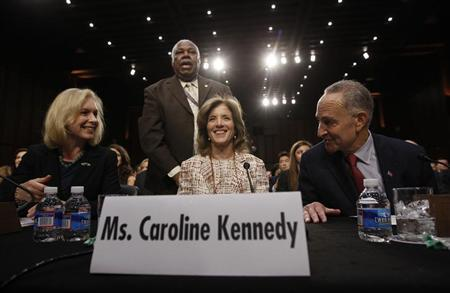 Caroline Kennedy (C), daughter of former U.S. President John F. Kennedy, prepares to testify at her U.S. Senate Foreign Relations Committee hearing on her nomination as the U.S. Ambassador to Japan, on Capitol Hill in Washington, September 19, 2013.