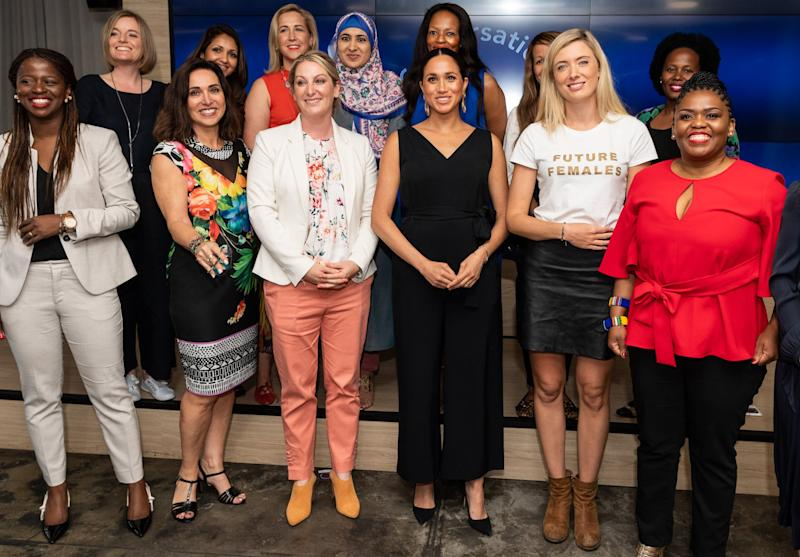 CAPE TOWN, SOUTH AFRICA - SEPTEMBER 25: (UK OUT FOR 28 DAYS) Meghan, Duchess of Sussex visits the Woodstock Exchange to meet female entrepreneurs working in technology, during the royal tour of South Africa on September 25, 2019 in Cape Town, South Africa. (Photo by Pool/Samir Hussein/WireImage)