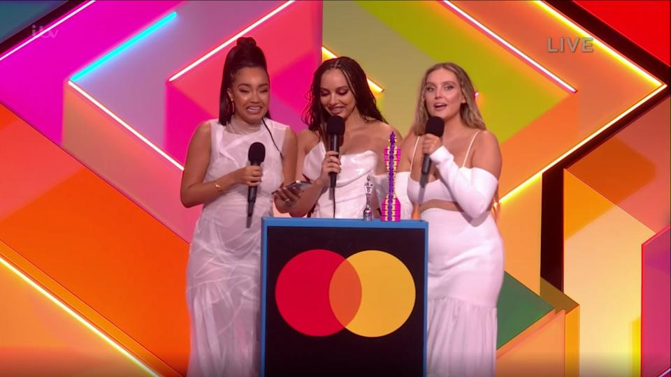 Little Mix pick up Best British Group at the Brit Awards (Photo: ITV)