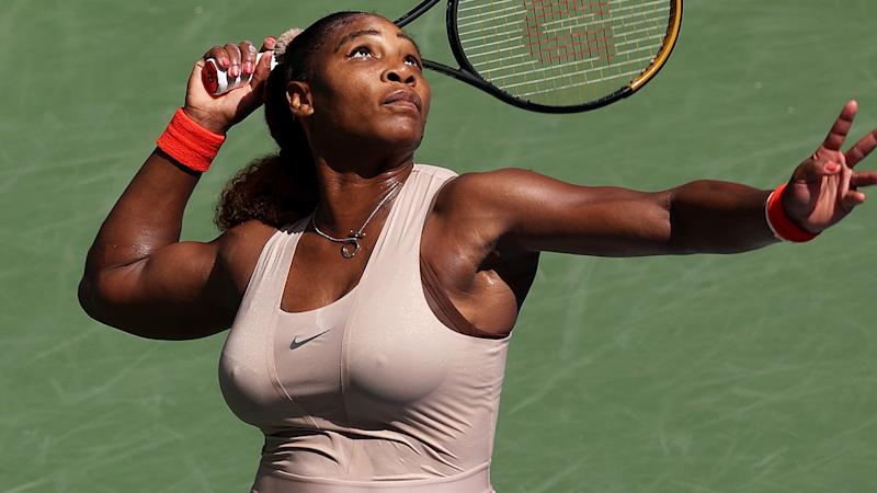 Serena Williams is pictured serving during the US Open.