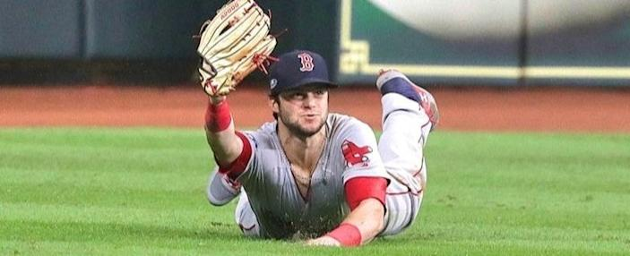 Boston Red Sox left fielder Andrew Benintendi's game-saving catch in Game 4 of the 2018 ALCS in Houston.