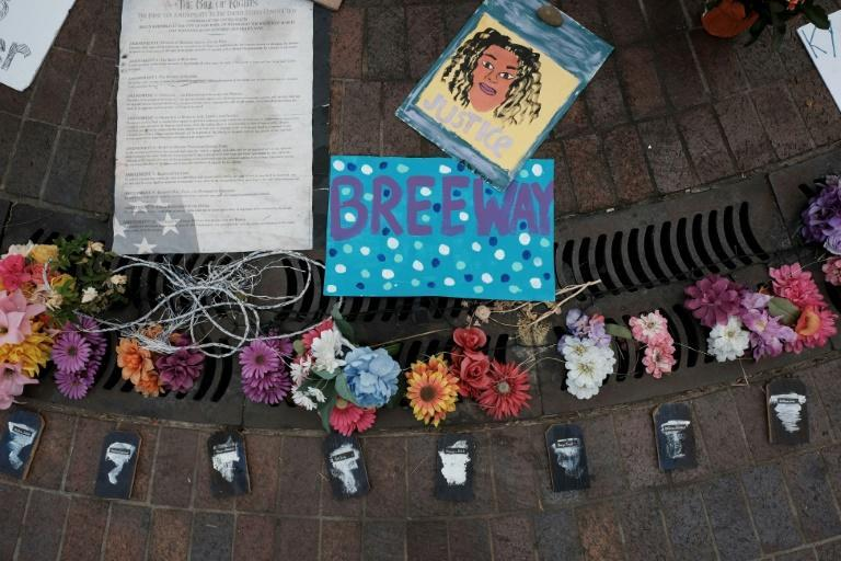 Signs placed at a memorial to Breonna Taylor at Jefferson Square Park in downtown Louisville, Kentucky