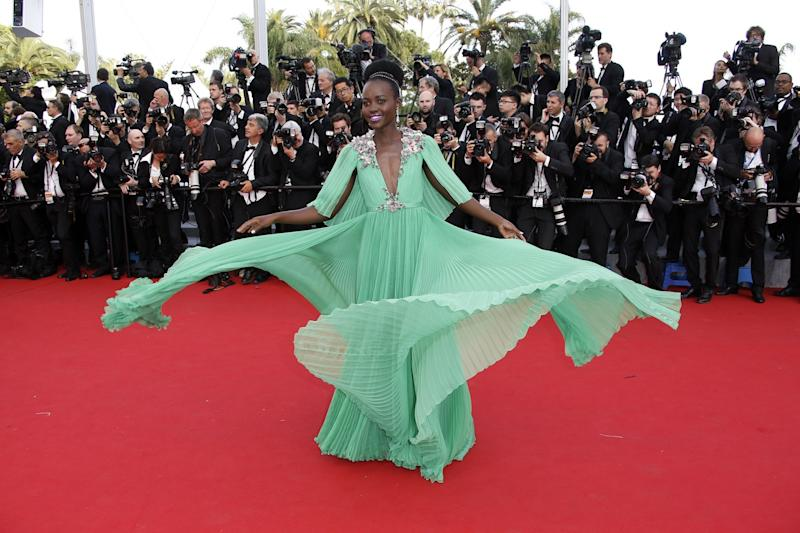 Lupita Nyong'o in Gucci at Cannes in 2015.