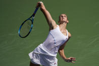 Karolina Pliskova, of the Czech Republic, serves to Catherine McNally, of the United States, during the first round of the US Open tennis championships, Tuesday, Aug. 31, 2021, in New York. (AP Photo/John Minchillo)