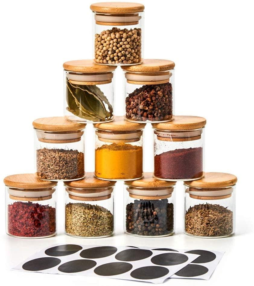 <p>Keep your spice containers organized with this practical <span>Ezoware 10-Bottle Glass Jar Set</span> ($30).</p>