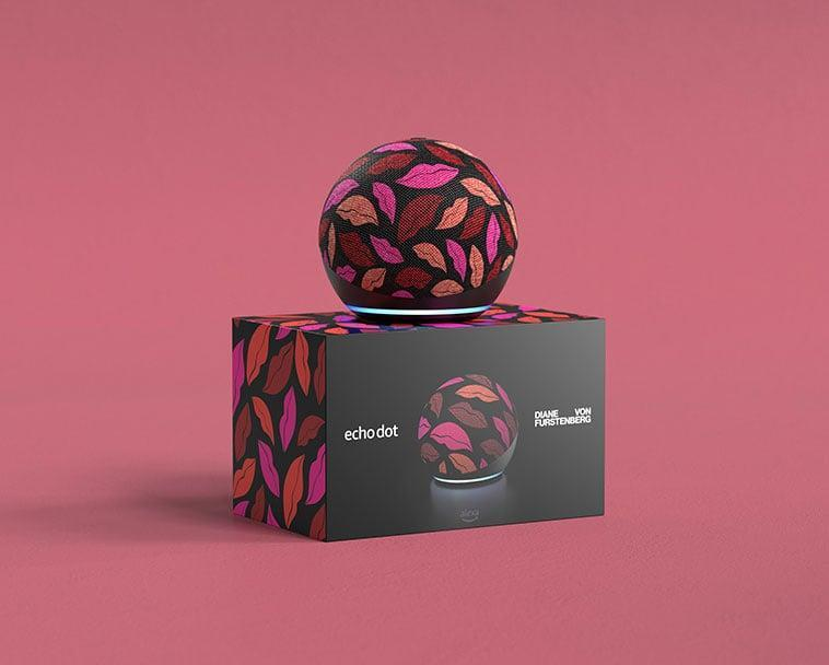 <p>The <span>Echo Dot (4th Gen) Limited Edition Diane von Furstenberg in Midnight Kiss</span> ($60) has a such a fun and flirty print with red, pink, and neutral-toned pouts. It's perfect for your vanity or closet. If you have a glamorous aesthetic, this one is for you. You can ask Alexa to tell a joke, play music, answer questions, play the news, check the weather, set alarms, and more. Alexa will even help you shop! Just add items you are interested in to your Wish List, and Alexa will alert you if there's a deal. </p>