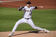 Pittsburgh Pirates starting pitcher Steven Brault delivers during the first inning of the team's baseball game against the Cincinnati Reds in Pittsburgh, Friday, Sept. 4, 2020. (AP Photo/Gene J. Puskar)