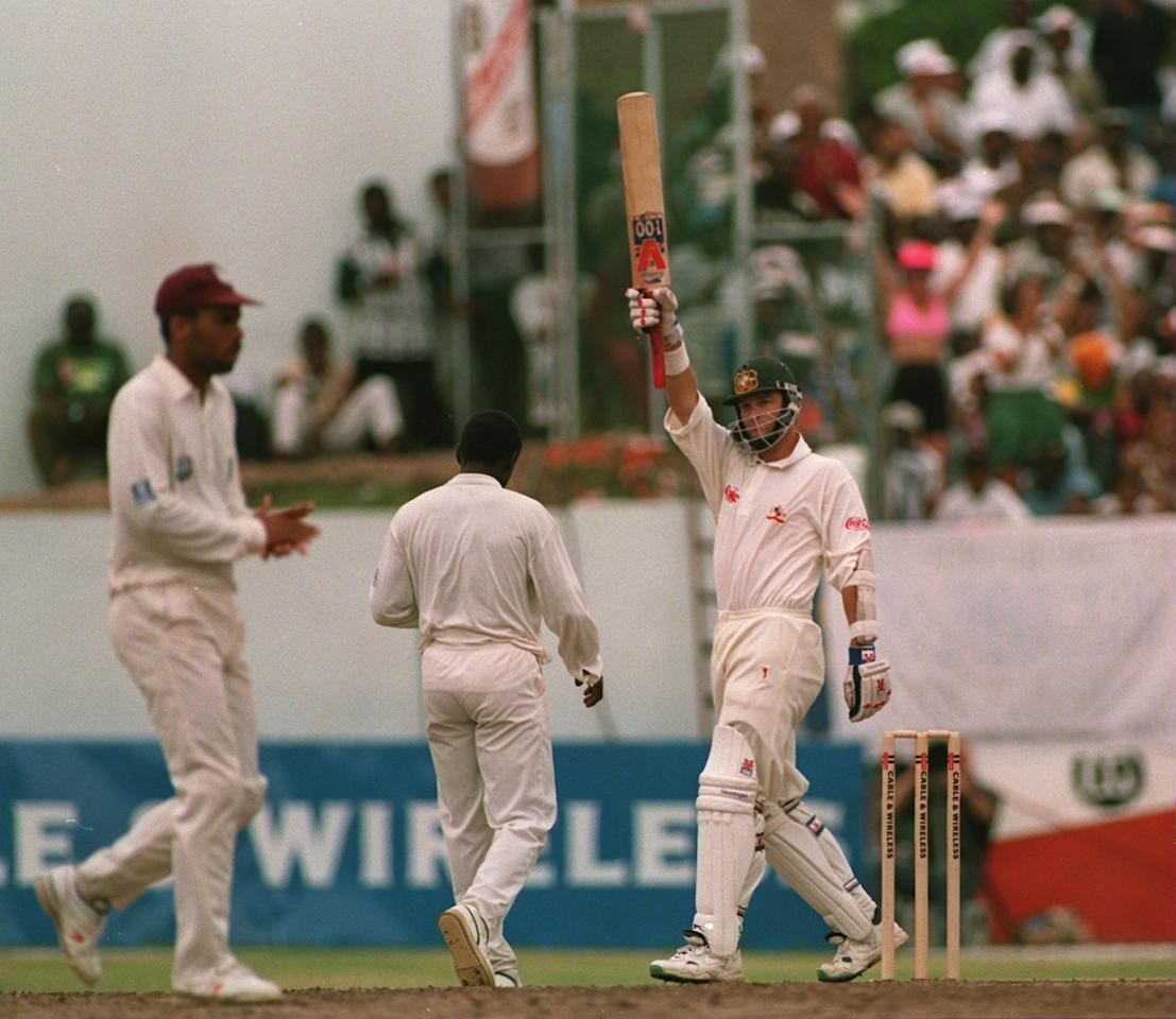 30 APRIL 1995:  AUSTRALIAN BATSMAN MARK WAUGH CELEBRATES HIS CENTURY ON THE 2ND DAY OF THE 4TH TEST WHERE TWIN BROTHER STEVE ALSO MADE HIS CENTURY. Mandatory Credit: Shaun Botterill/ALLSPORT