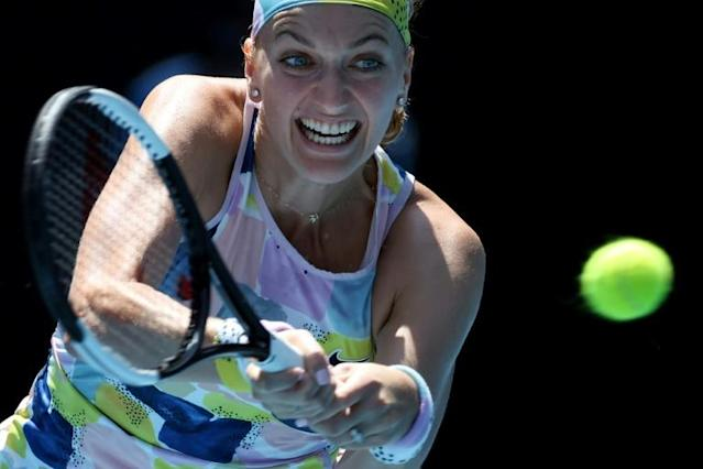 Czech Republic's Petra Kvitova had not dropped a set in reaching the last 16 in Melbourne (AFP Photo/DAVID GRAY)