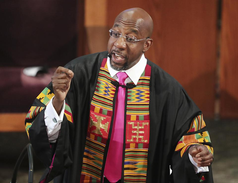 The Rev. Raphael G. Warnock delivers the eulogy at Rayshard Brooks' funeral at Ebenezer Baptist Church in Atlanta in June.