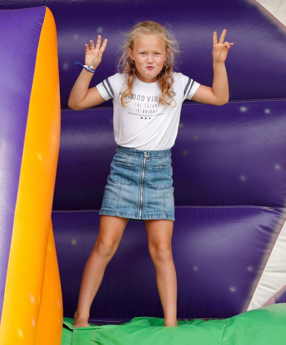 <p>This absolute cutie is Savannah Phillips, born in 2010 as the first great-grandchild of Philip and the Queen. She's about to turn 11.</p>