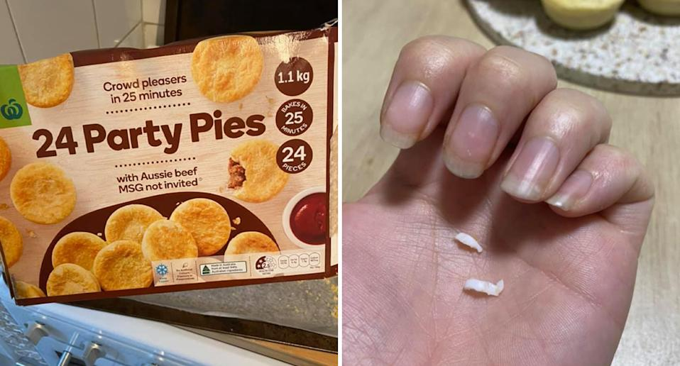 Woolworths brand party pies and the plastic bits found inside a pack.