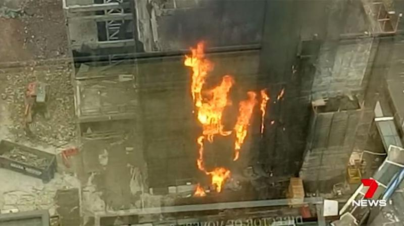 The mesh around the scaffolding was thought to be ignited by stray embers from a blow torch. Source: 7 News