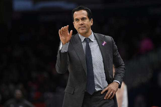 Miami Heat head coach Erik Spoelstra gestures during the second half of an NBA basketball game against the Washington Wizards, Sunday, March 8, 2020, in Washington. The Heat won 100-89. (AP Photo/Nick Wass)
