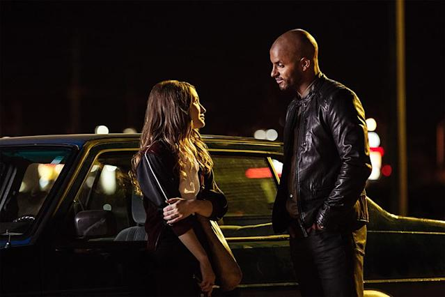 <p>Emily Browning as Laura Moon, Ricky Whittle as Shadow Moon in Starz's <i>American Gods</i>.<br><br>(Photo: Starz) </p>