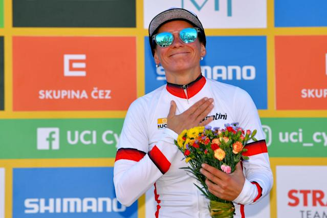 Katerina Nash in the World Cup leader's jersey
