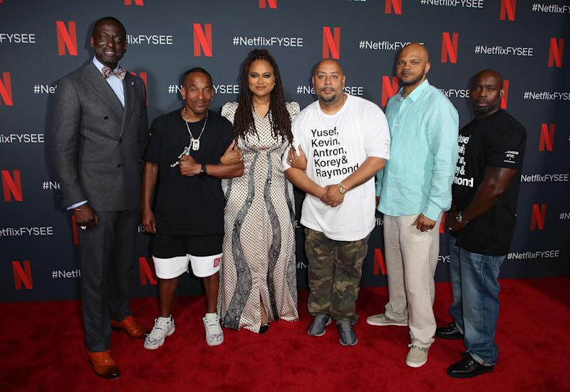 "From left to right, Yusef Salaam, Korey Wise, Ava DuVernay, Raymond Santana, Kevin Richardson and Antron McCay attend a June event for ""When They See Us"" in Los Angeles. (Photo: David Livingston/Getty Images)"