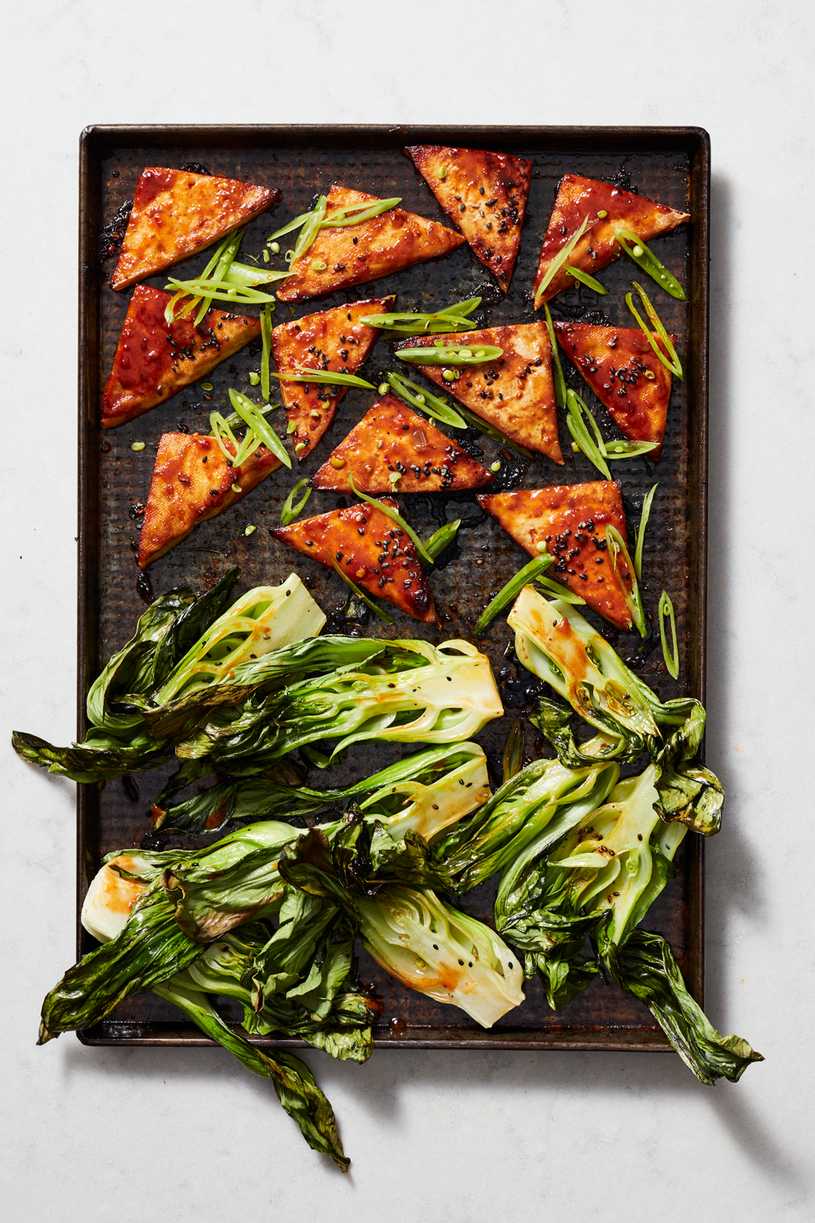 """<p>The next time you need an excuse to turn on the oven, try out this vegetarian sheet pan dinner. While the tofu alone would be delicious, the bok choy is the real star here, offering a hefty dose of greens (and tons of vitamins and minerals) not often seen in other baked dishes.</p><p><strong><em><a href=""""https://www.prevention.com/food-nutrition/recipes/a25619941/asian-tofu-bok-choy-recipe/"""" rel=""""nofollow noopener"""" target=""""_blank"""" data-ylk=""""slk:Get the recipe »"""" class=""""link rapid-noclick-resp"""">Get the recipe »</a></em></strong></p>"""