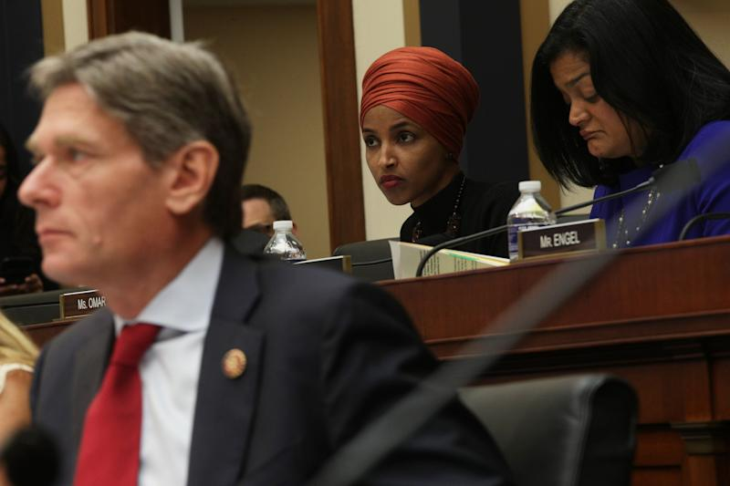 U.S. Rep. Ilhan Omar (D-Minn.) listens during a joint hearing before House Judiciary Committee Immigration and Citizenship Subcommittee and House Foreign Affairs Committee Oversight and Investigations Subcommittee September 24, 2019, on Capitol Hill in Washington, D.C. (Photo: Alex Wong via Getty Images)