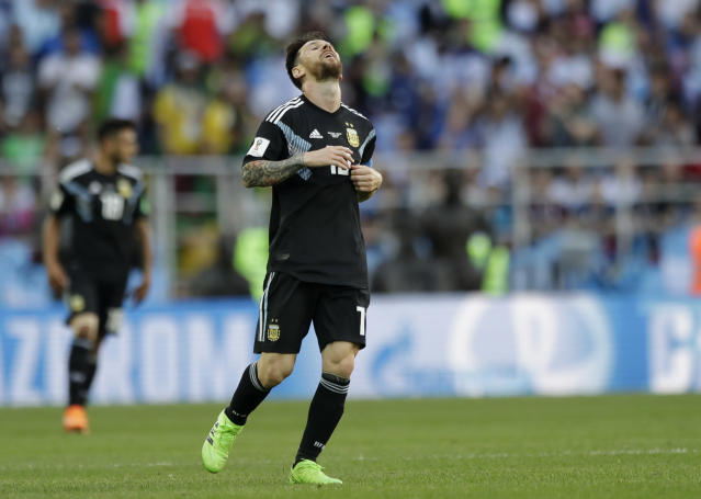<p>It wasn't a first half for Argentina's Lionel Messi to remember </p>