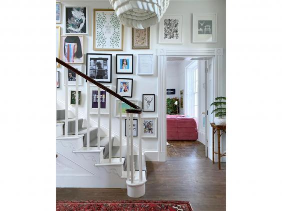 Lisa Dawson's gallery wall on her staircase at home