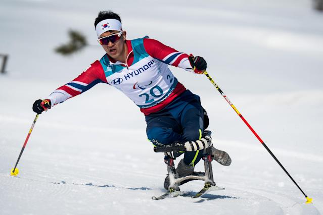Lee Jeong Min KOR competes during the Cross-Country Skiing sitting Men's 15km at the Alpensia Biathlon Center. The Paralympic Winter Games, PyeongChang, South Korea, Sunday 11th March 2018. OIS/IOC/Bob Martin/Handout via Reuters