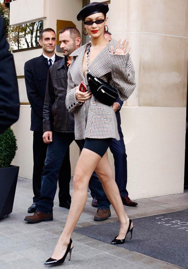 Bella was spotted leaving her hotel in Paris. Source: Getty