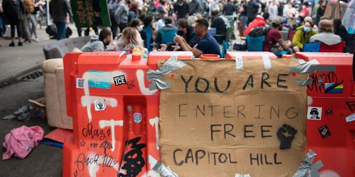An entrance to the Capitol Hill Organized Protest formerly known as the Capitol Hill Autonomous Zone in Seattle, Washington on June 14, 2020.
