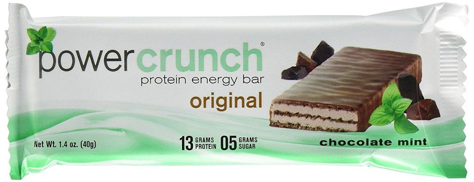 <p>These <span>Power Crunch Protein Energy Bar</span> ($17 for 12) feel like eating an indulgent, minty Kit Kat bar.</p>