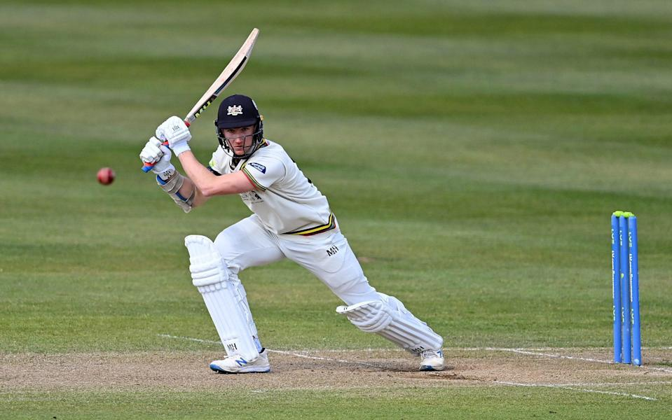 James Bracey of Gloucestershire bats during day four of the LV= County Championship match between Gloucestershire and Surrey at Bristol County Ground on April 11, 2021 in Bristol, England. Sporting stadiums around the UK remain under strict restrictions due to the Coronavirus Pandemic as Government social distancing laws prohibit fans inside venues resulting in games being played behind closed door - Dan Mullan/Getty Images