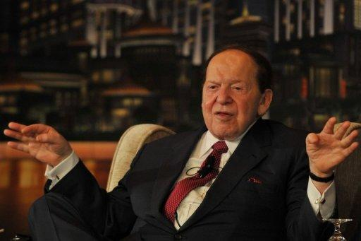 Chairman and CEO of Las Vegas Sands Corporation Sheldon Adelson gestures at a press conference before the opening of the Sands Cotai Central, Sands' newest integrated resort in Macau before its opening, April 2012. US gaming tycoon Sheldon Adelson's Macau-based subsidiary Sands China said it is under investigation over the transfer of data from the Chinese territory to the United States