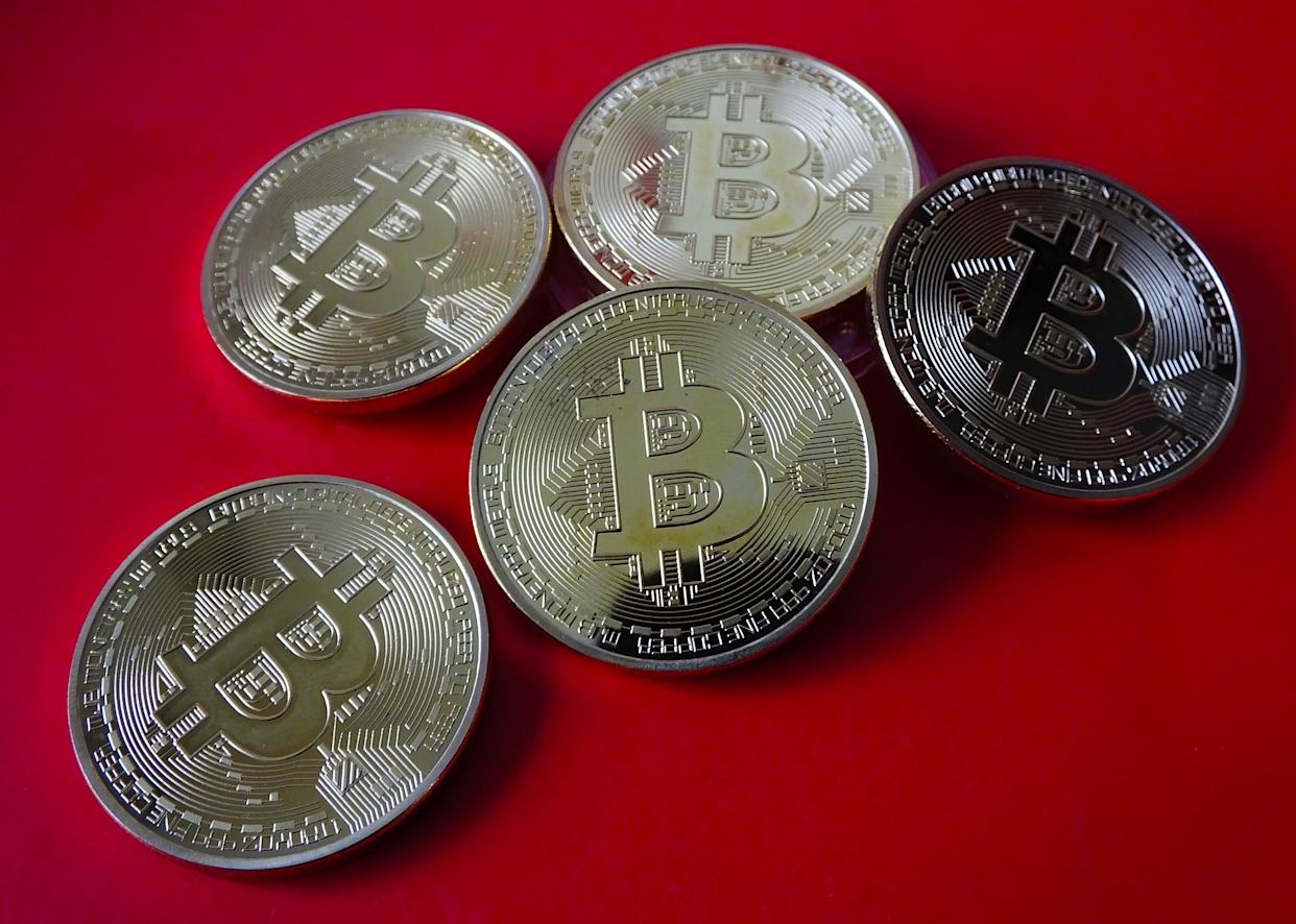 YICHANG, CHINA - APRIL 14, 2021 - A view of commemorative bitcoin coins, Yichang, Hubei Province, China, April 14, 2021. The cryptocurrency exchange Coinbase is about to go public. (Photo credit should read Costfoto/Barcroft Media via Getty Images)