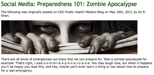 In this Friday May 20, 2011 handout photo released by the Center for Disease Control, a screen grab from the CDC's Emergency Preparedness and Response social media blog webpage is shown. A public health doctor looking for a way to sex up a tired old message about emergency preparedness this week tried something eerie, a zombie attack and sparked an Internet frenzy. (AP Photo/Center for Disease Control)