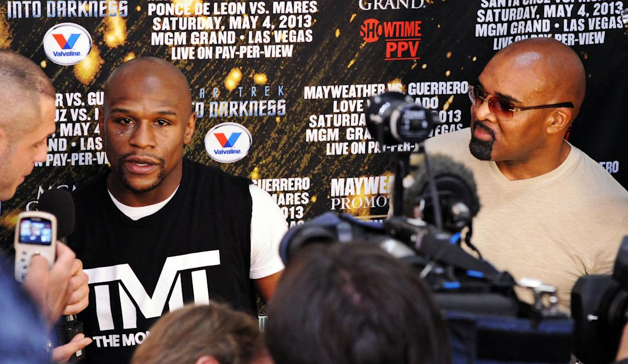 LAS VEGAS, NV - APRIL 17: Boxer Floyd Mayweather Jr. speaks to the media during a work out session at the Mayweather Boxing Club on April 17, 2013 in Las Vegas, Nevada. Mayweather Jr. will fight Robert Guerrero for the WBC welterweight title at the MGM Grand Garden Arena on May 4, 2013.  (Photo by Bryan Haraway/Getty Images)