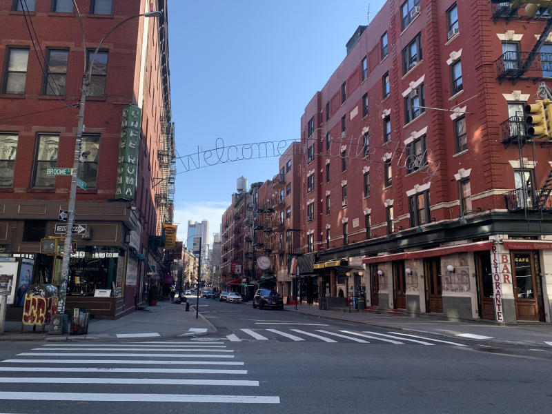 The usually bustling Little Italy, located on Mulberry Street in New York City, is deserted on a weekday evening amid a shutdown due to the coronavirus outbreak. PHOTO: Goh Yi Han