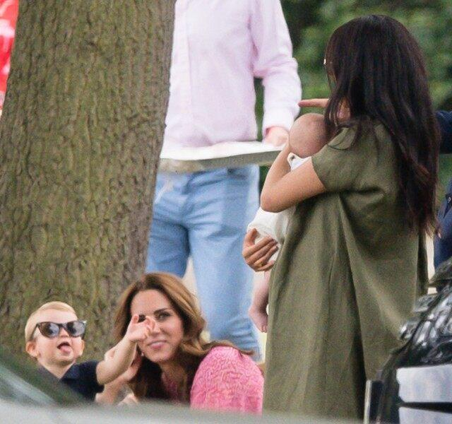 Prince Louis, Kate Middleton, Meghan Markle and Archie at polo match