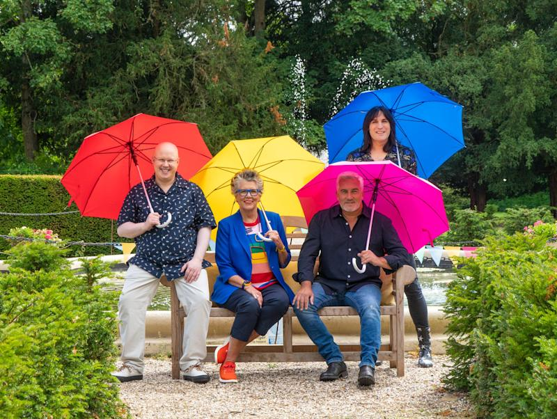 Brolly good fellows: Matt Lucas, Prue Leith, Paul Hollywood and Noel FieldingChannel 4