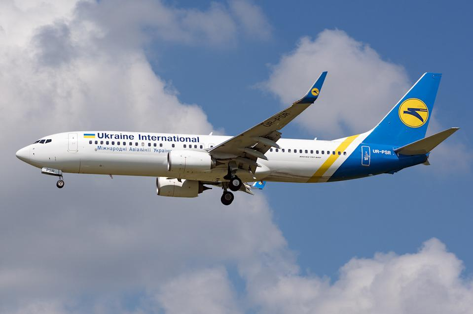 Ukraine International Airlines Boeing 737-800 with the registration UR-PSR lands at Budapest Ferenc Liszt Airport, Hungary May 26, 2018. Picture taken May 26, 2018. Andras Soos/Handout via REUTERS   MANDATORY CREDIT