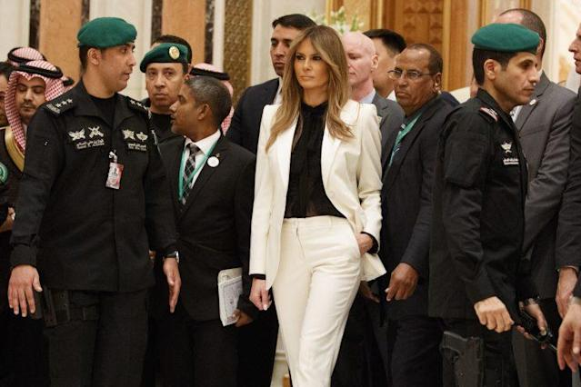 Melania Trump wore a pantsuit to Sunday's summit, despite the taboo against women in trousers in Saudi Arabia (Photo: AP)