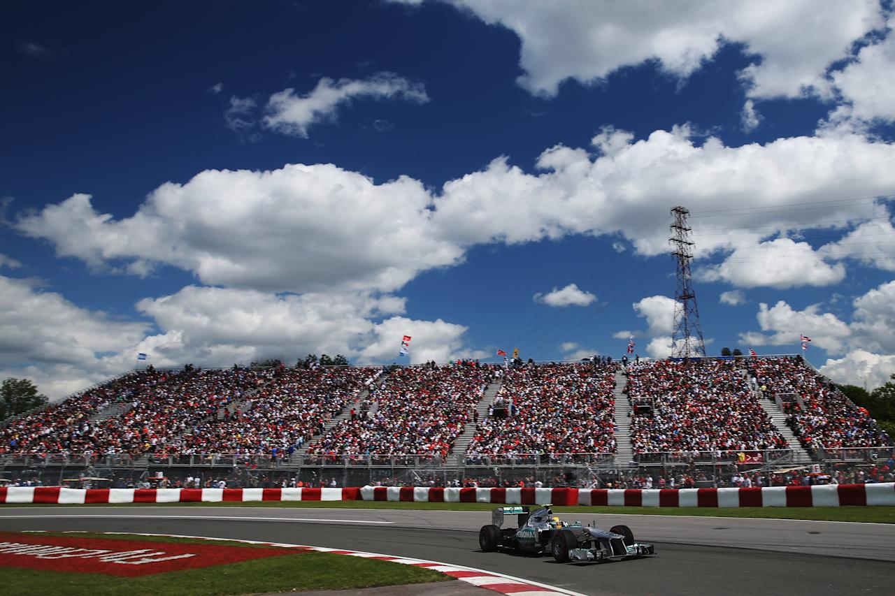 MONTREAL, QC - JUNE 09:  Lewis Hamilton of Great Britain and Mercedes GP drives during the Canadian Formula One Grand Prix at the Circuit Gilles Villeneuve on June 9, 2013 in Montreal, Canada.  (Photo by Mark Thompson/Getty Images)