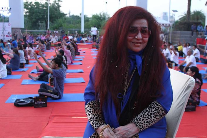 Shahnaz Husain, CEO of Shahnaz Herbals Inc, during the International Yoga Day to create awareness for a healthy lifestyle hosted by Select Citywalk, Saket, on June 21, 2017 in New Delhi, India. (Photo by Waseem Gashroo/Hindustan Times via Getty Images)