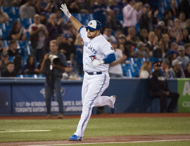 Toronto Blue Jays' Rowdy Tellez round the bases after hitting a two-run home run against the Tampa Bay Rays during the second inning of a baseball game in Toronto on Thursday, Sept. 20, 2018. (Nathan Denette/The Canadian Press via AP)