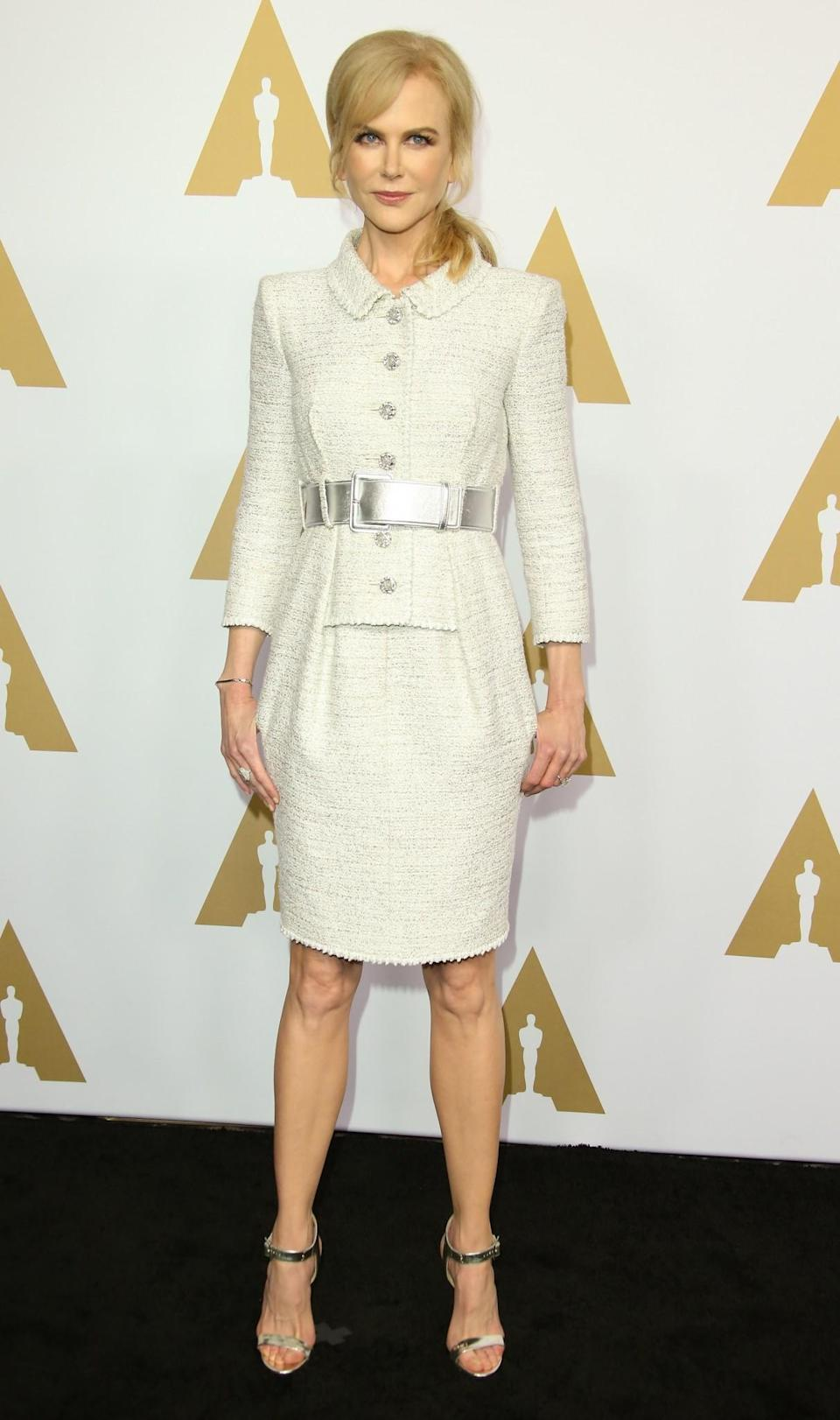 <p>Nicole Kidman was perfectly dressed for the occasion, opting for a flawless Chanel suit, with matching metallic accessories. [Photo: Getty] </p>