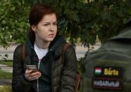 FILE PHOTO: Kira Yarmysh, spokeswoman of Russian opposition leader Alexei Navalny, waits outside a hospital in Omsk