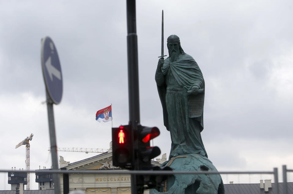 A view of a new monument of Stefan Nemanja on Sava Square in Belgrade, Serbia, Wednesday, Jan. 27, 2021. Serbia's President Aleksandar Vucic is to unveil a soaring monument of Stefan Nemanja, a 12th century Serbian ruler on Wednesday, Saint Sava Day. (AP Photo/Darko Vojinovic)