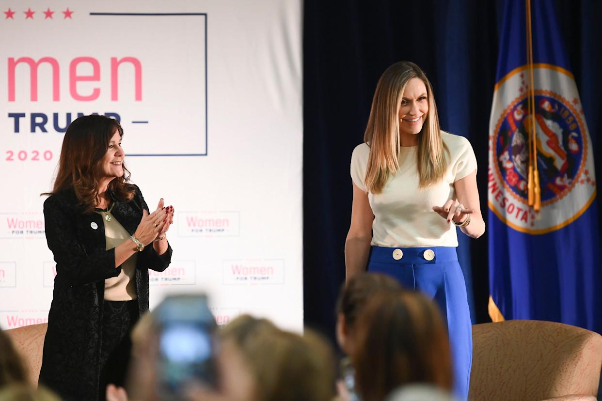 "Second Lady Karen Pence, left, and Lara Trump, President Donald's Trump's daughter-in-law, take the stage Wednesday at the start of a ""Women for Trump"" event at the Union Depot in St. Paul, Minn. (Photo: Aaron Lavinsky/Star Tribune via ASSOCIATED PRESS)"