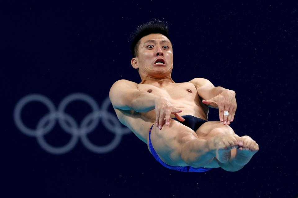 <p>TOKYO, JAPAN - AUGUST 03: Ken Terauchi of Team Japan competes in the Men's 3m Springboard Final on day eleven of the Tokyo 2020 Olympic Games at Tokyo Aquatics Centre on August 03, 2021 in Tokyo, Japan. (Photo by Clive Rose/Getty Images)</p>