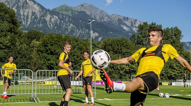 <p>Christian Pulisic of Borussia Dortmund during a training session on the training ground of Bad Ragaz during Borussia Dortmund's summer training camp on Aug. 7, 2016 in Bad Ragaz, Switzerland.</p>