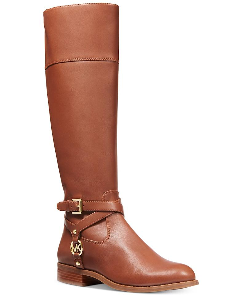 """<p>We can't believe these <a href=""""https://www.popsugar.com/buy/Michael-Kors-Preston-Tall-Boots-490244?p_name=Michael%20Kors%20Preston%20Tall%20Boots&retailer=macys.com&pid=490244&price=150&evar1=fab%3Aus&evar9=46612760&evar98=https%3A%2F%2Fwww.popsugar.com%2Ffashion%2Fphoto-gallery%2F46612760%2Fimage%2F46613228%2FMichael-Kors-Preston-Tall-Boots&list1=shopping%2Csale%20shopping%2Cmacys&prop13=mobile&pdata=1"""" rel=""""nofollow"""" data-shoppable-link=""""1"""" target=""""_blank"""" class=""""ga-track"""" data-ga-category=""""Related"""" data-ga-label=""""https://www.macys.com/shop/product/michael-michael-kors-preston-tall-boots?ID=10210882&amp;CategoryID=13604#fn=sp%3D1%26spc%3D2187%26ruleId%3D78%7CBOOST%20SAVED%20SET%26searchPass%3DmatchNone%26slotId%3D24"""" data-ga-action=""""In-Line Links"""">Michael Kors Preston Tall Boots</a> ($150, originally $225) are on sale.</p>"""