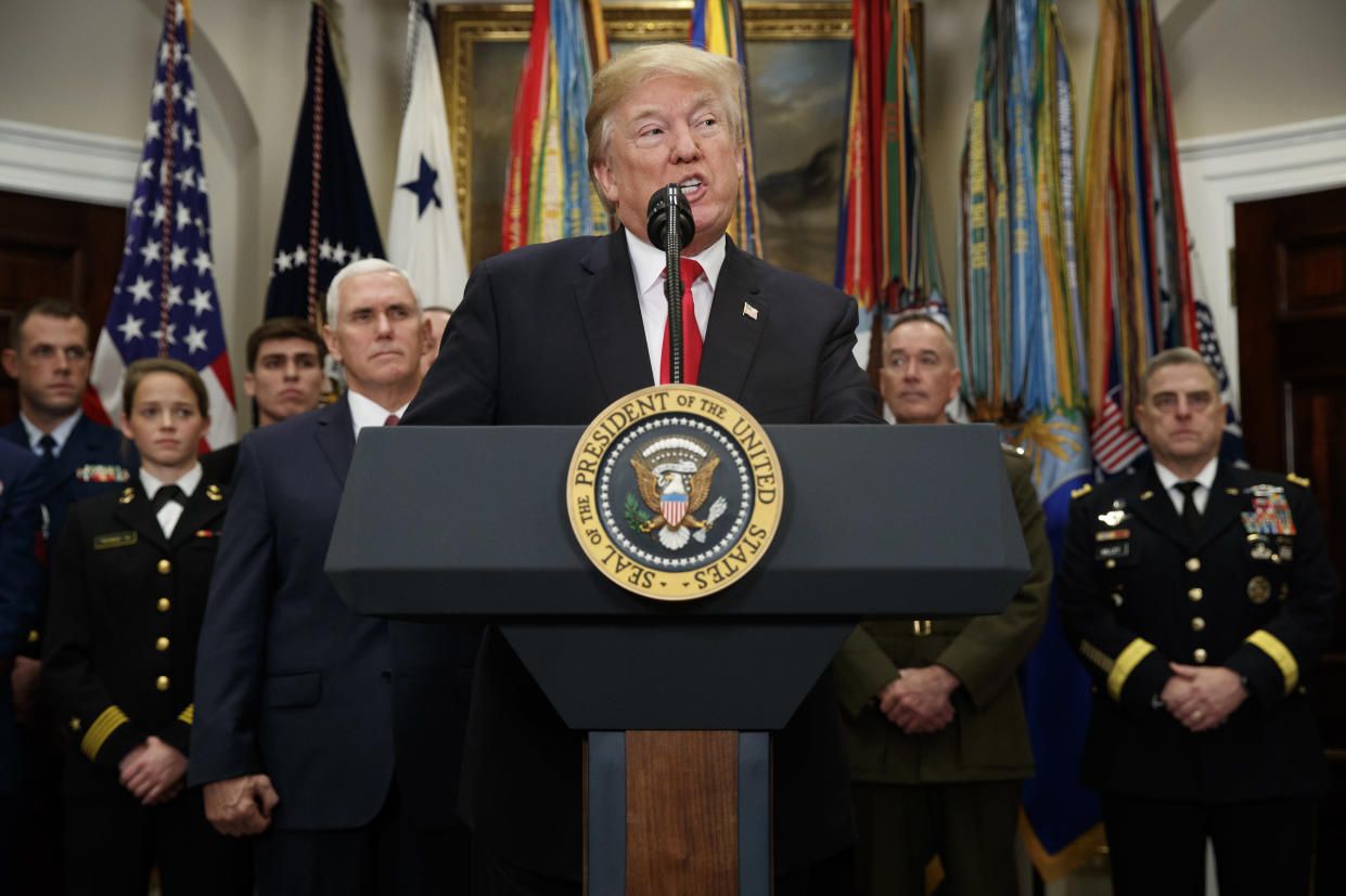 President Trump speaks before signing the National Defense Authorization Act, Dec. 12, 2017. (Photo: Evan Vucci/AP)